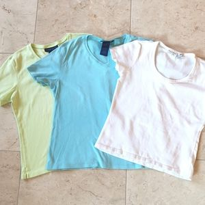 3 t-shirts sz small - white , turquoise, green